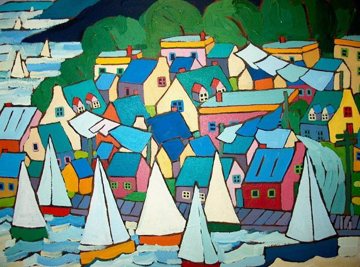 Sailing by Canadian artist Terry Ananny, 20x24 inches, acrylic on canvas