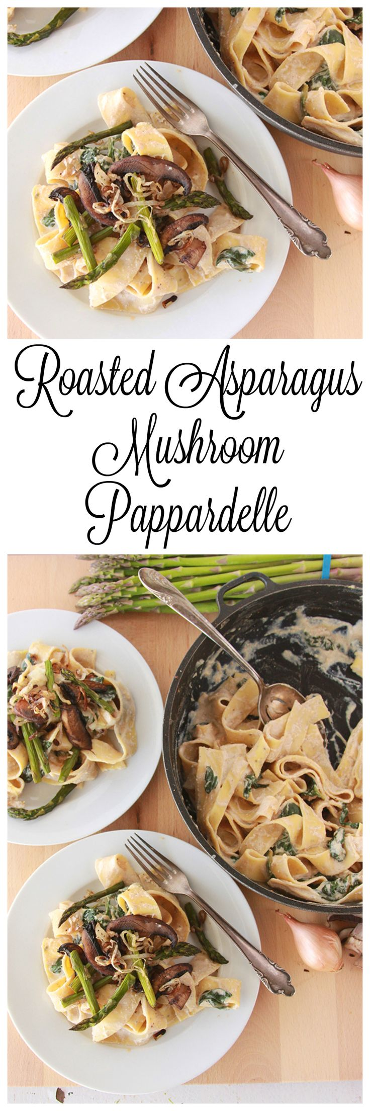 Pappardelle with Asparagus, Mushroom, and Ricotta on www.cookingwithruthie.com  is simple-to-make and delicious!