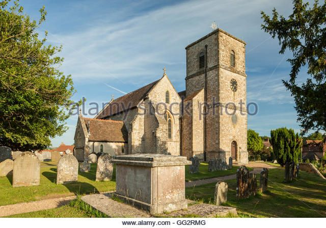 Summer evening at St Mary's church in Storrington, West Sussex, England. - Stock Image