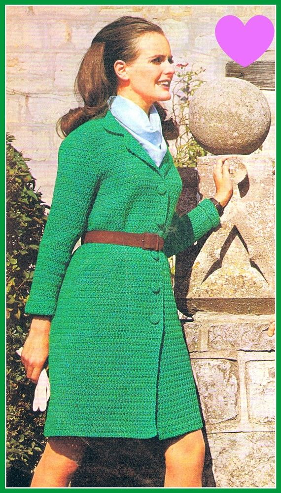 1960s Coat Crochet Pattern Original 1960s Mod by HeirloomPatterns