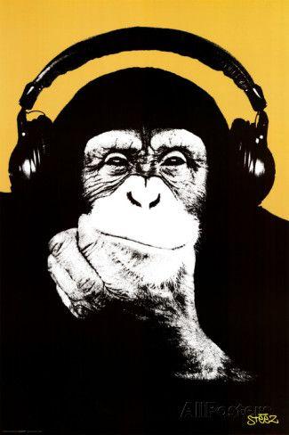 Macaco com fone de ouvido poster