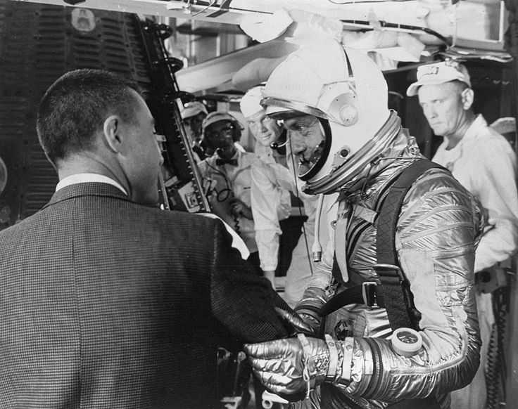 """Freedom 7 Prelaunch Astronaut Virgil I. """"Gus"""" Grissom wishes Alan B. Shepard a safe flight just before insertion into the Freedom 7 spacecraft mated on the Redstone rocket."""