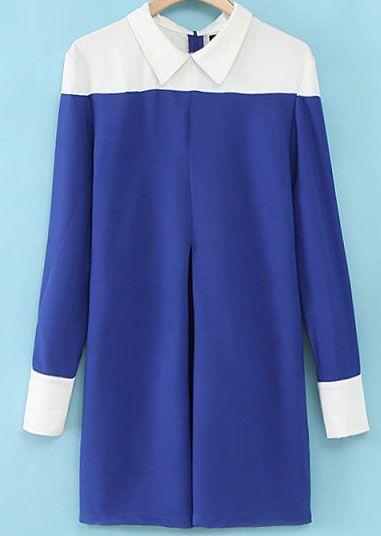 Vestido suelto contraste solapa manga larga-azul 7.82