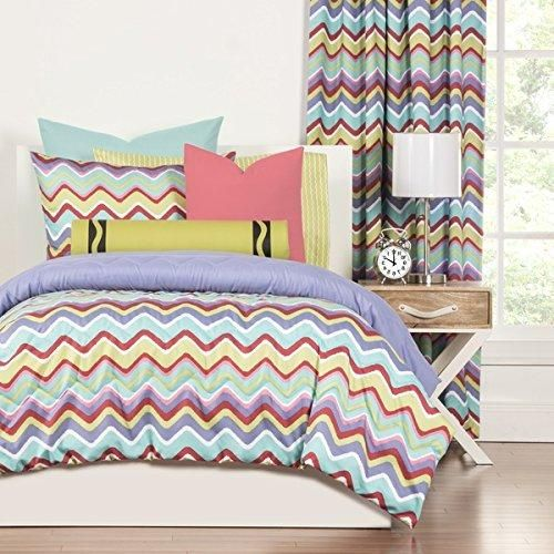 Chevron Comforter Twin Set Mixed Palette Chevron Pattern Unique Gorgeous Colorful Bedding Modern Bedrooms Blue Green Pink Purple Red Polyester
