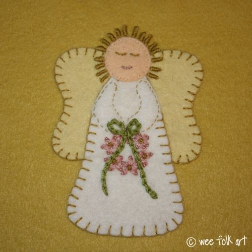 """Next to the Nativity Scene, angels are probably the most common religious symbol of Christmas. She was made to fit on a 6"""" x 6"""" block, but can be reduced or enlarged to meet your needs."""