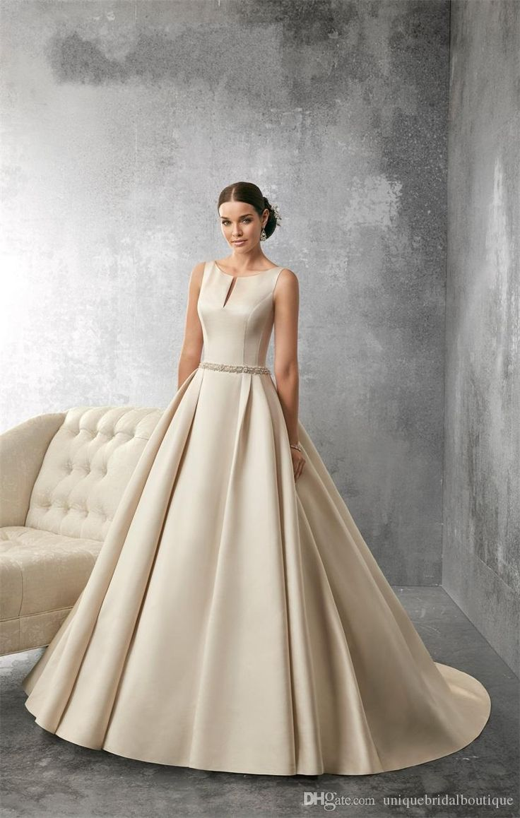 Wedding Dresses 2016 Ronald Joyce With Jewel Neck And Open Back Beaded Pearls Ivory Satin Ball Gown Romantic Bridal Gowns Long Train Black And White Wedding Dresses Cheap Cocktail Dresses From Uniquebridalboutique, $141.81| Dhgate.Com