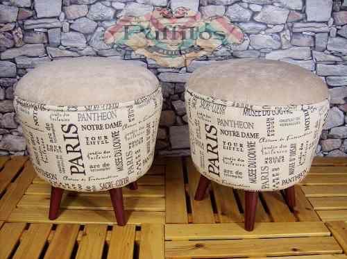 Puff Estilo Vintage -patas Conicas- Puffitos- - $ 1.335,00