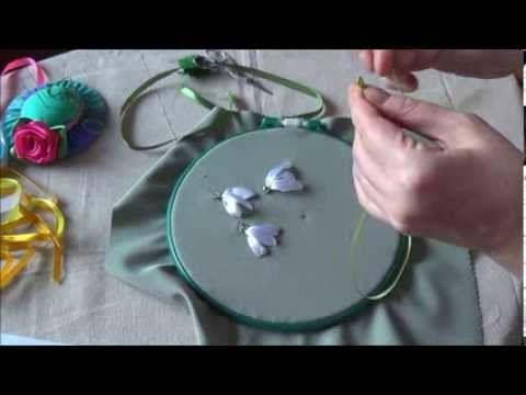 Вышивка лентами. Подснежники и мимоза (часть 1)