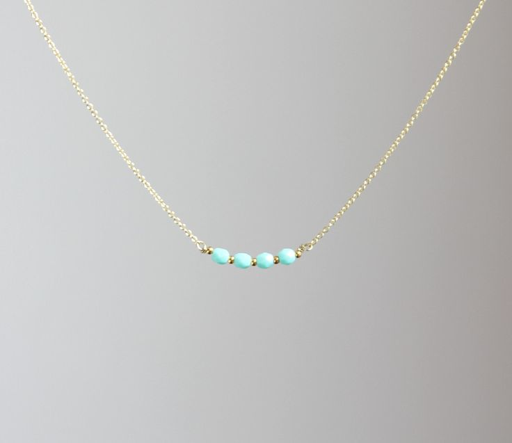 Delicate everyday fresh mint faceted Czech beaded Gold necklace available in gold or silver. $14.00, via Etsy.