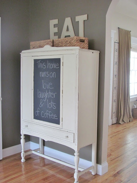 make your own chalkboard insert into glass without it being permanent. Chalkboard Contact Paper Hutch Makeover @ City Farmhouse