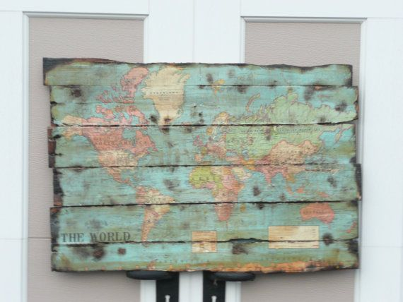 World map pallet sign on etsy sold home pallet decor for How do you spell pallets