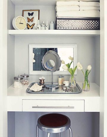 Cute idea to do with a small closet in the master bedroom, make it a makeup area