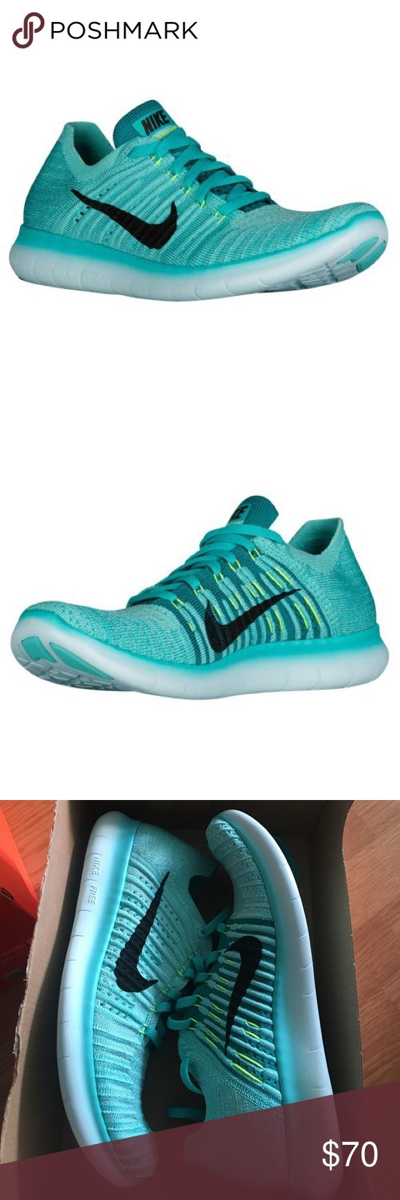 NEW women's Nike Free RN Flyknit shoes Brand new women's Nike Free RN Flyknit shoes. No trades Tiffany blue color. Hyper turq/black-volt-rio teal color code. 100% authentic Nike Shoes Athletic Shoes