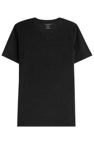 Majestic Majestic V-Neck-Shirt aus Leinen – Schwarz