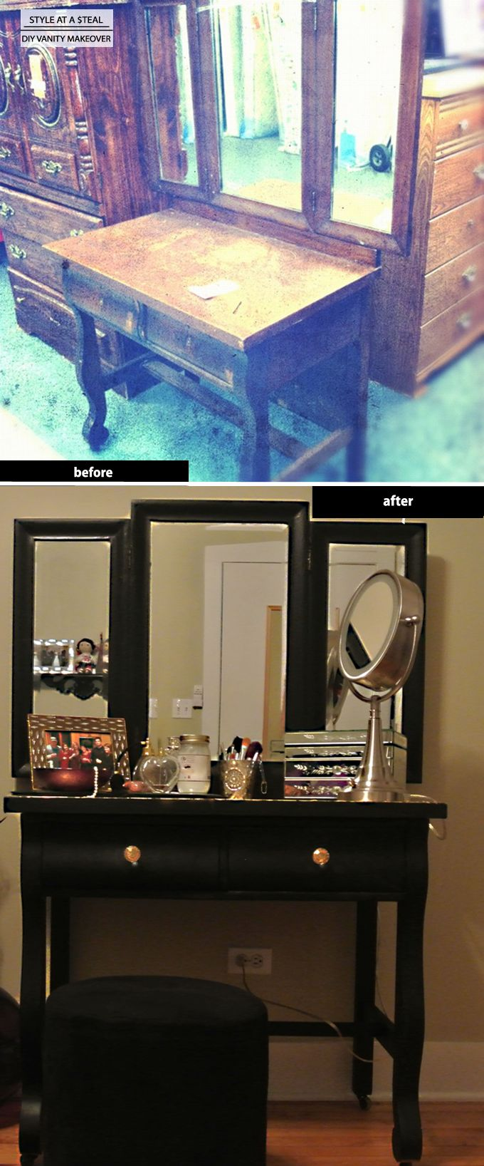 DIY Vanity Makeover Hubby would probably kill me because diy means husband do it!