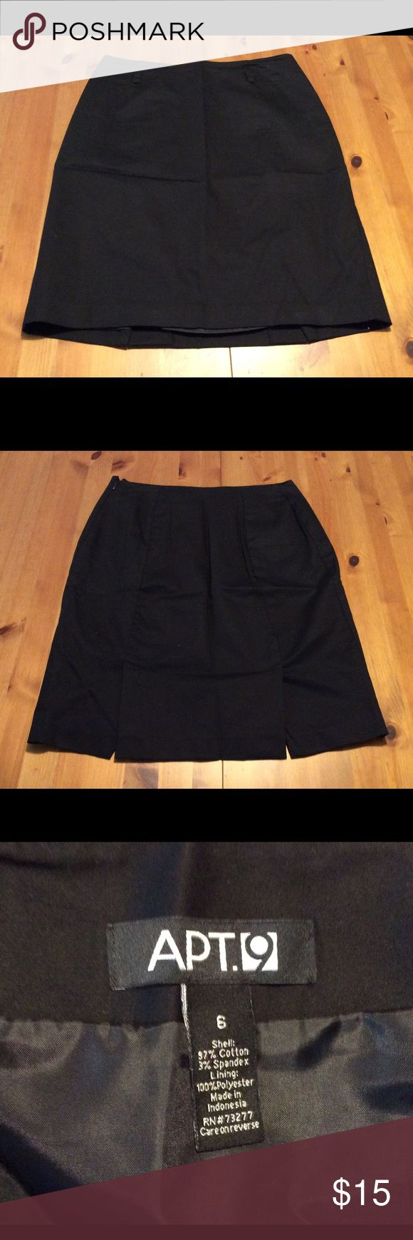 """GUC Cotton blend lightweight lined black skirt Feminine and flattering. Used twice (too many little black skirts!). Gently used. 1"""" waist darts. I say it fits like a 4. See measurements. EUC Apt. 9 Skirts"""