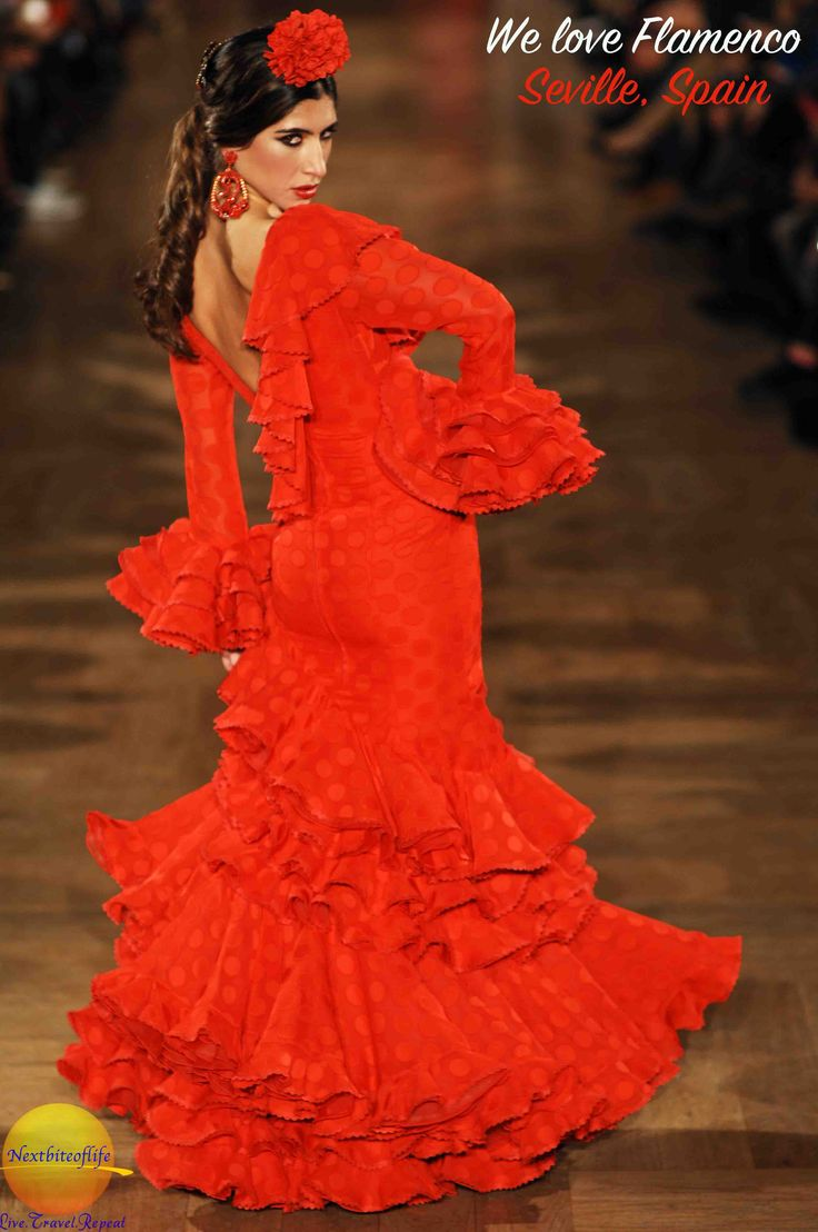 We love flamenco 2016 show at the Hotel Alfonso XIII. Runway collections from top Spanish designers. A yearly extravaganza in the center of Seville. #runway #flamenco #fashion #Spain