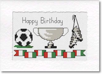 Football cross stitch card with football, boots and cup