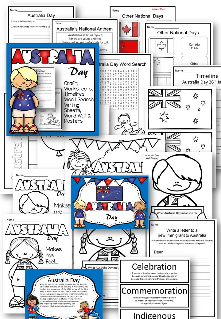 Explore Australia Day with your primary students with posters, word search, vocabulary, timeline and history, craft and flags.