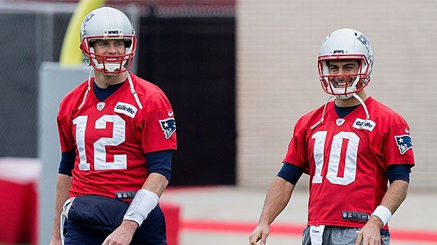 While Brady may be in his own stratosphere on the field, that doesn't stop Jimmy Garoppolo and Jacoby Brissett from teasing him about his old age.