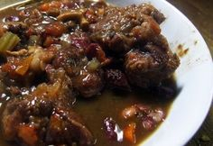 """Jamaican Oxtail Stew. Rich and flavorful. Also excellent for a bone-in chuck roast or thick flanken (""""English style"""") cut beef short ribs."""
