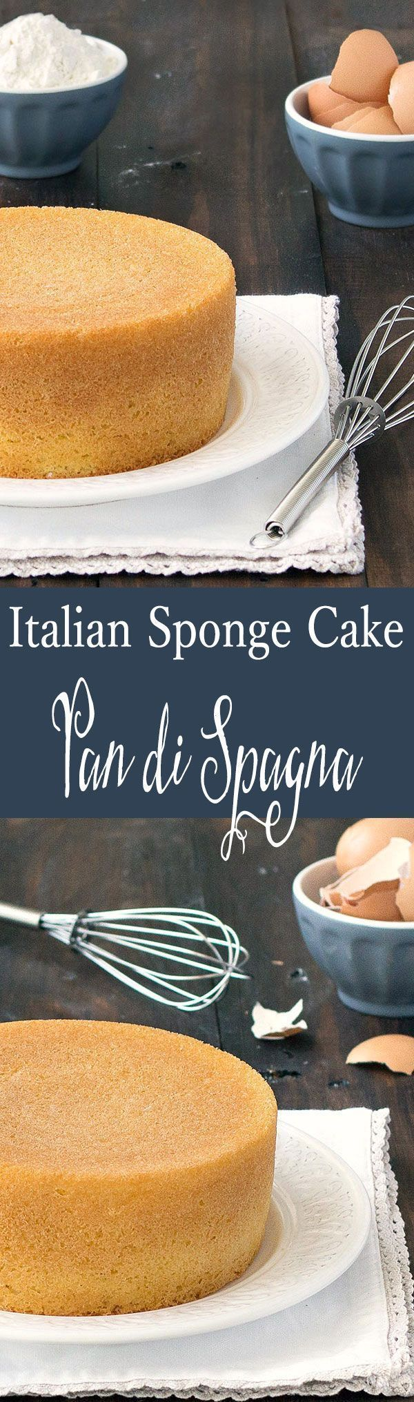 Pan di Spagna is a simple, Italian sponge cake made with only 3 ingredients: no baking powder, no butter, no oil! Its used in desserts like cassata, zuccotto, zuppa inglese and tiramisu.