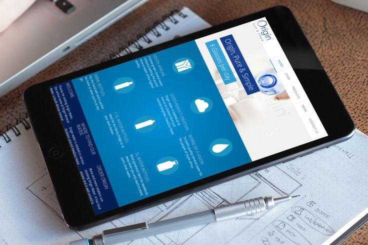 Origin Water website on a tablet originwater.co.za