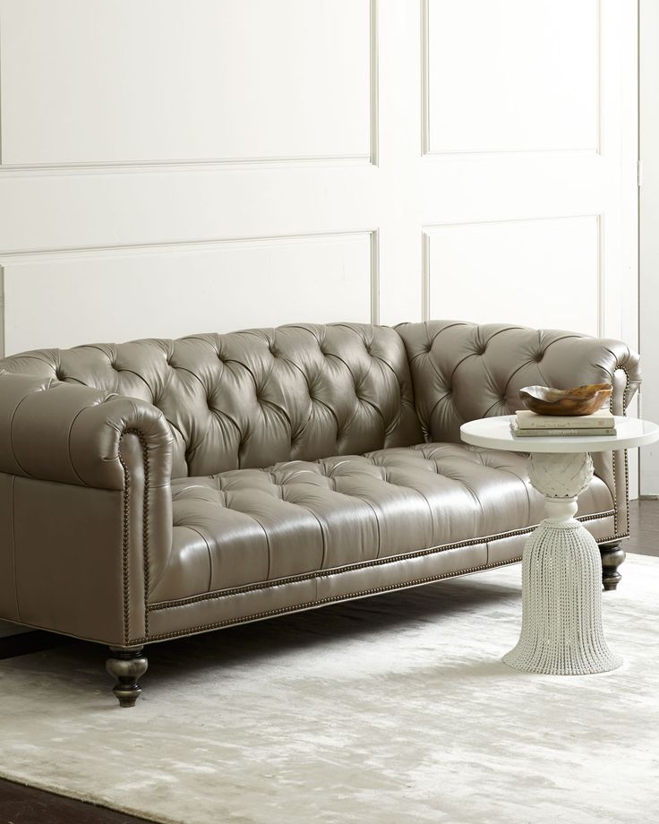 Morgan Gray Tufted Leather Sofa, Grey - Old Hickory Tannery