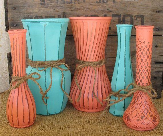 VasesHand Painted Flower Vases upcycled by TheShabbyChicWedding, $45.00