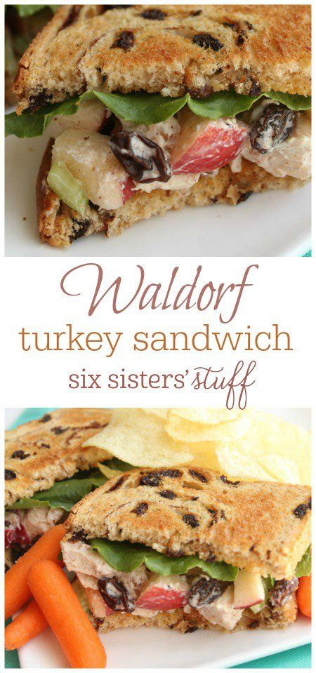 Waldorf Turkey Sandwich recipe from SixSistersStuff.com | This sandwich is so delicious and a great way to use that leftover Thanksgiving turkey.  The raisin bread takes this yummy sandwich over the top!!
