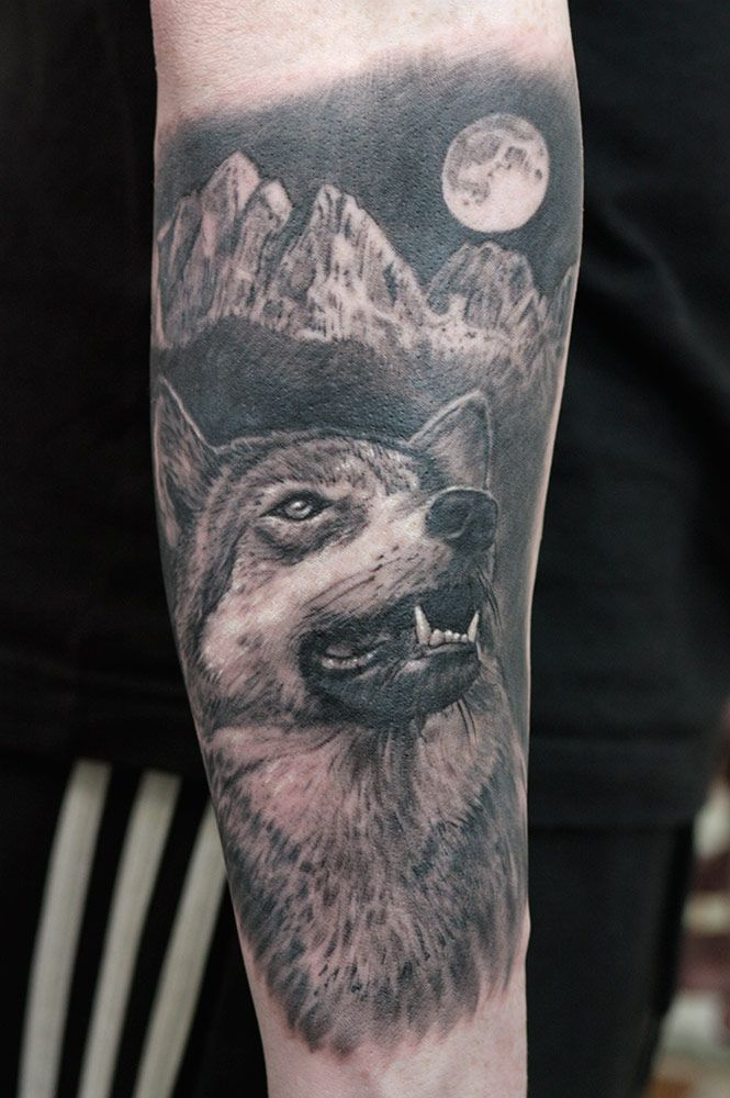 075df4ce3 With this black and gray realism wolf tattoo, customer insisted on all the  elements of immortal classic to be present in composition.