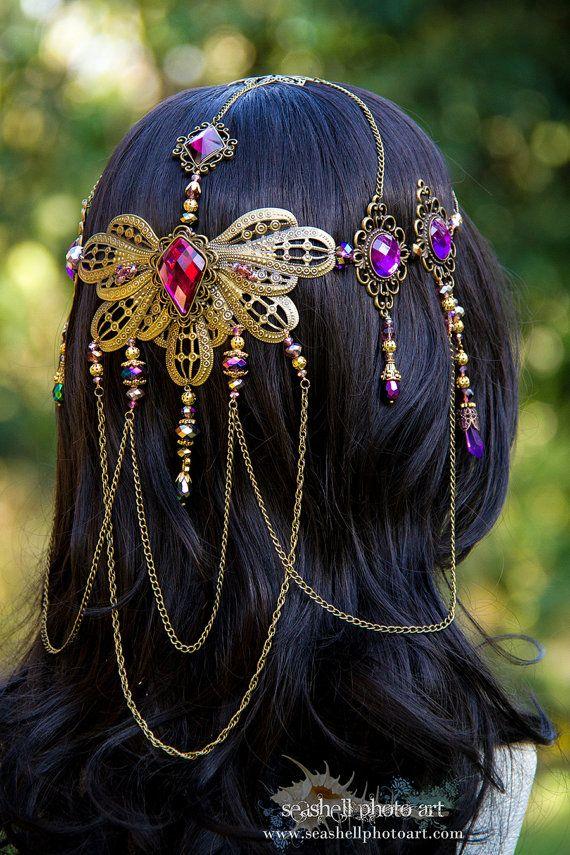 The Royal Peacock Bridal Circlet by BlingGoddessBoutique on Etsy, $169.00