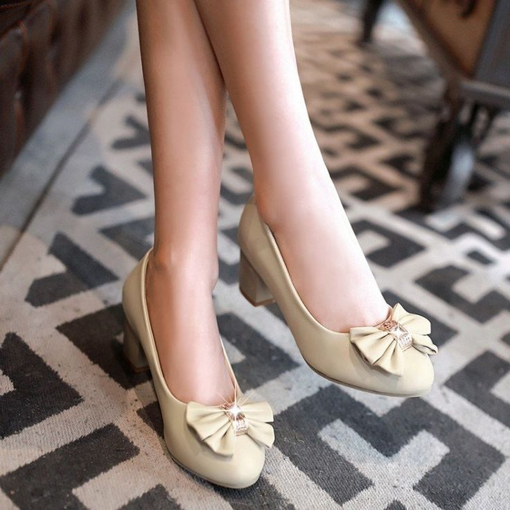 Women High Heels Shoes Rhinestone Bow Low Heeled Pumps 8494