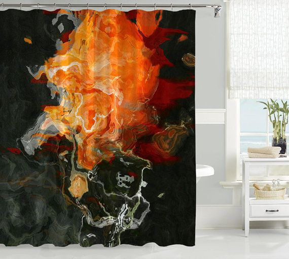 Abstract art shower curtain, contemporary bathroom decor, black and orange shower curtain, bathroom art, from original art Flame