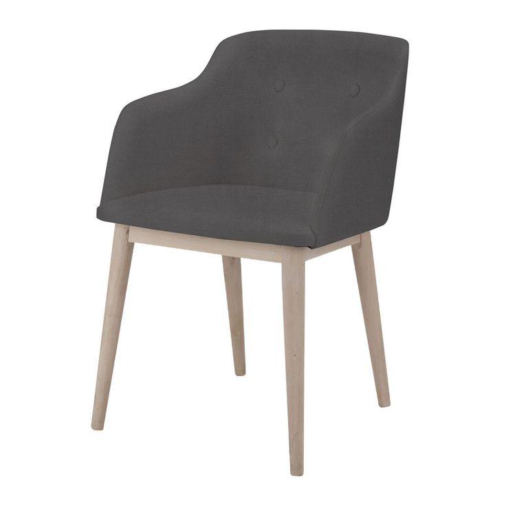 Chaise de séjour capitonnée anthracite - Cork - Chaises-Tables et chaises-Salon et salle à manger-Par pièce - Décoration intérieur - Alinea