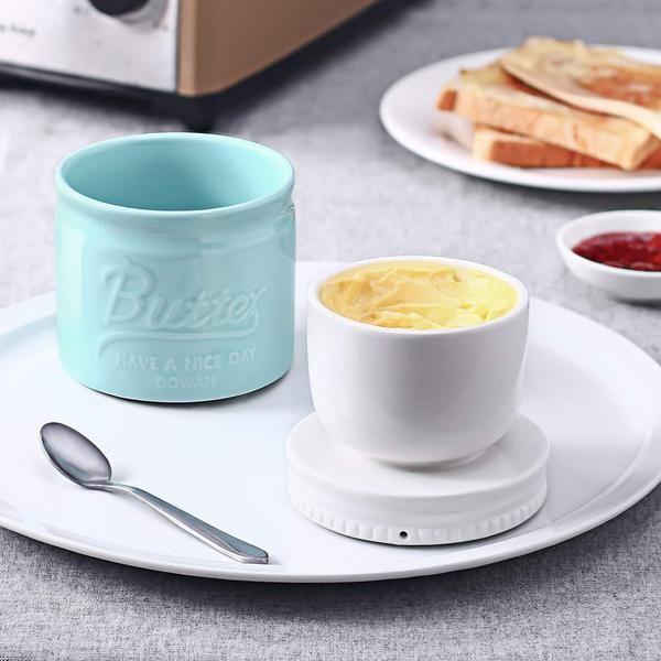 Dowan 6 5 Ounce Porcelain Mason Jar Type Butter Crock Set Of 1 Butter Crock Crock Stick Of Butter
