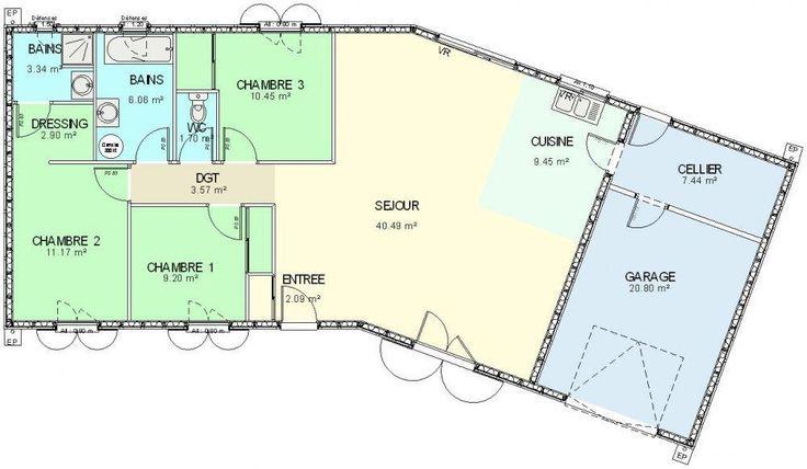 Plan maison ossature bois plain pied 4 chambres maison - Plan maison plain pied 120m2 ...