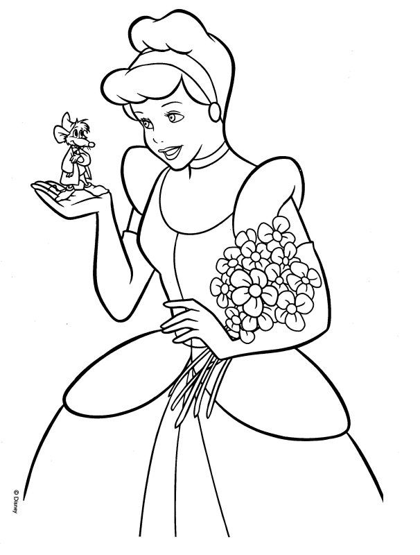 cinderella holding flowers and the mouse coloring pages