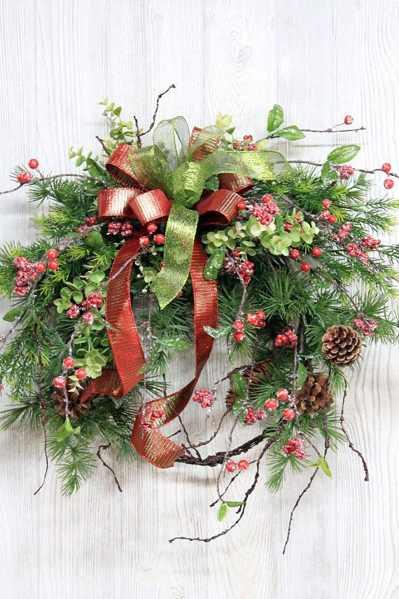 Ships Free Rustic Winter Wreath Christmas Wreath