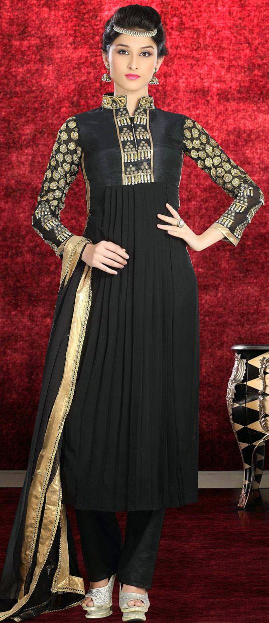 USD 41.52 Black Georgette Designer Salwar Kameez 43576