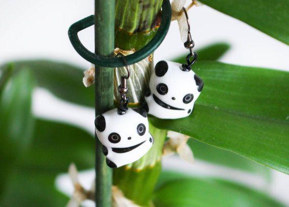 ceramic panda earrings Porcelain Panda dangle by MyDayDreamsShop