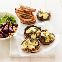 Baked mushrooms with beetroot and walnut salad