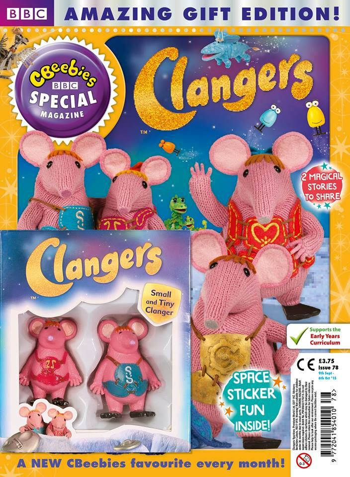 Look who comes with this month's CBeebies Magazine – Tiny and Small! It's a Clangers special with stickers and stories, in newsagents now.   #Clangers