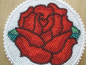Native American Beaded Medallions | NEW-Native-American-Indian-Shoshone-FULLY-beaded-RED-ROSE-medallion ...
