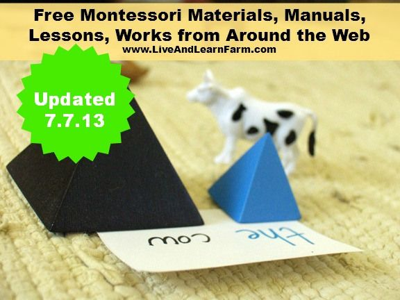 Huge list of Free Montessori Materials from around the web Updated 7.7.13