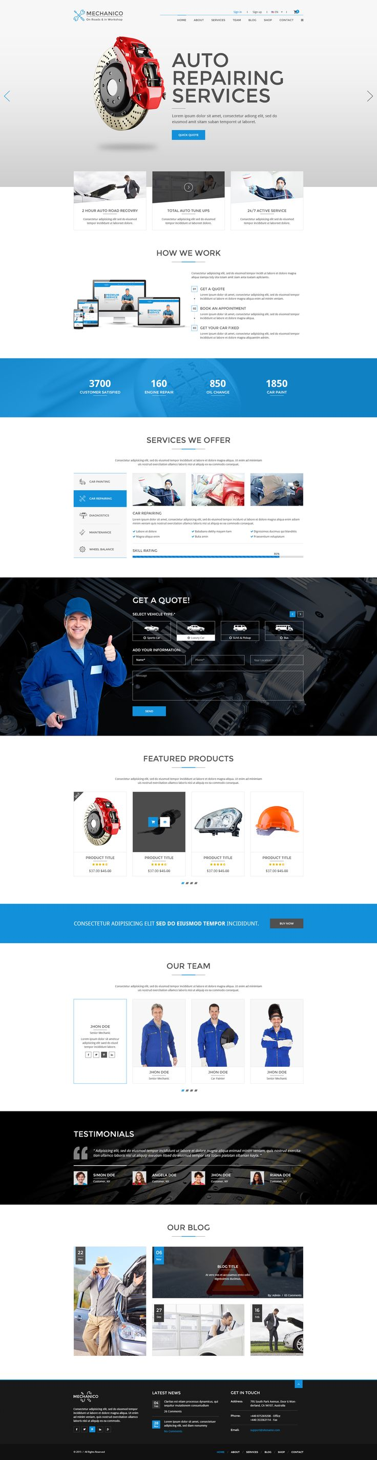 Mechanico is a clean and modern psd specifically designed for car mechanics but could also be a good choice for plumbers, architects and carpenters. It also includes carefully designed inner pages ...