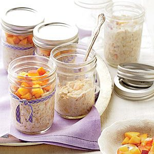 Peaches-and-Cream Refrigerator Oatmeal | MyRecipes.com - could do this for K with coconut yogurt & almond milk