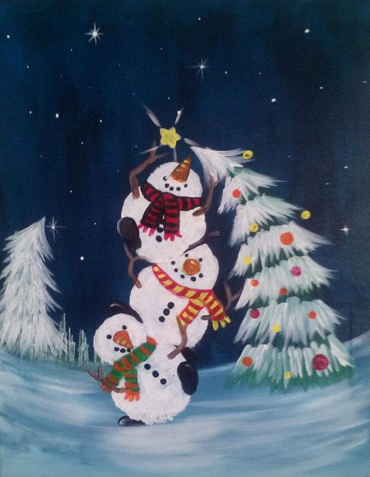 Trimming the tree. A fun snowman painting to liven up any room this holiday season. Join us to paint this whimsical holiday painting. Learn how to create a winter wonderland as I guide you through this playful painting.