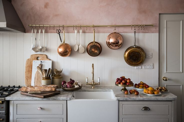 The blush painted kitchen + the hanging copper pots ❤️