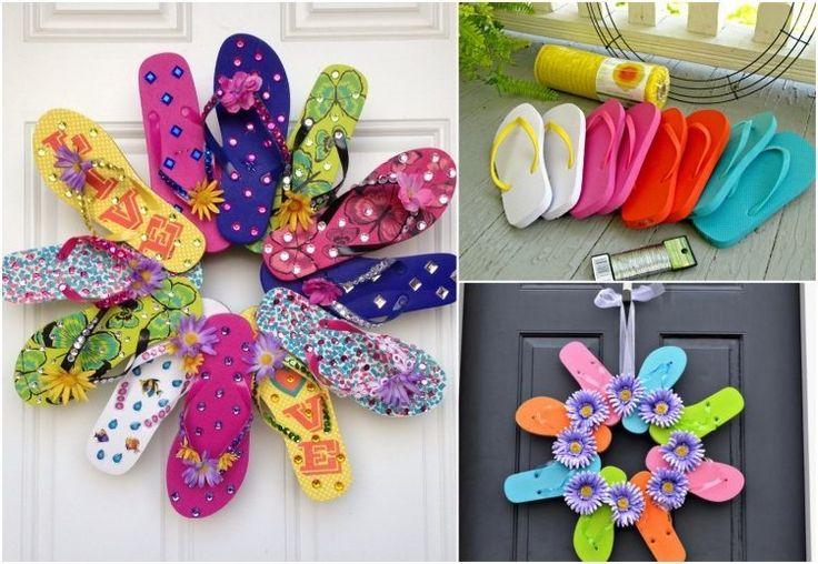 bricolage enfants facile pour les vacances: couronne de porte en tongs
